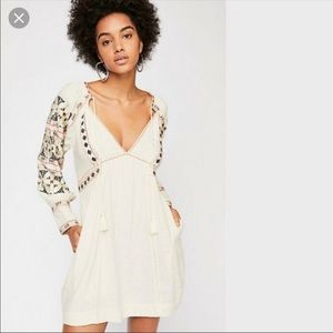Free People All My Life Embroidered Mini Dress